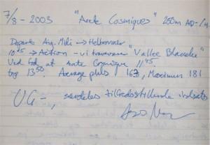 """Kommentar som Asmus skrev i min """"dagbog"""" efter turen."""